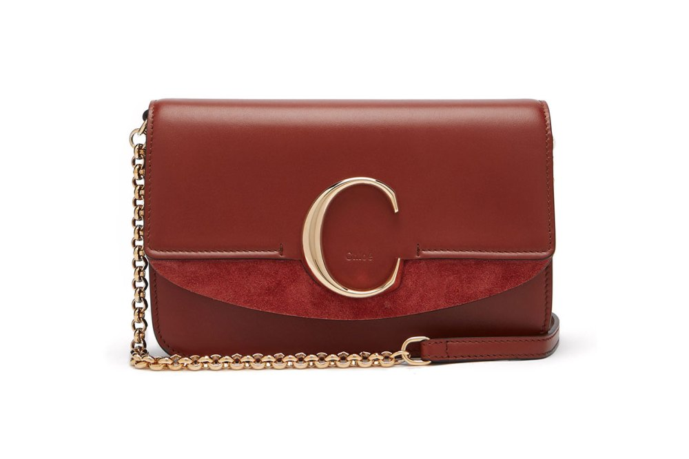 The C Leather and Suede Cross-body Bag