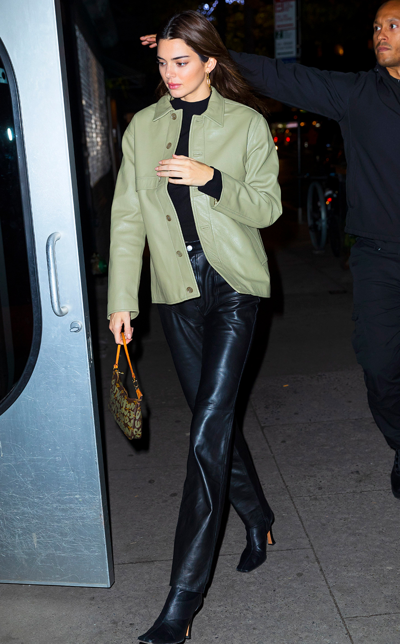 Celebrities Style Leather Outfits