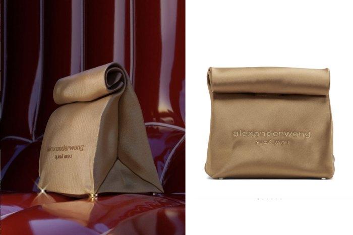Foodie 必備的「午餐手拿包」!Alexander Wang 推出奢華又時尚的緞面紙袋形手袋
