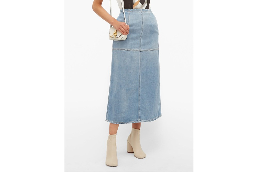 Back-slit Denim Midi Skirt