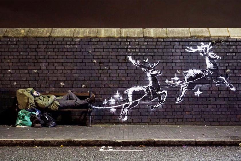 banksy reindeer christmas mural birmingham homeless