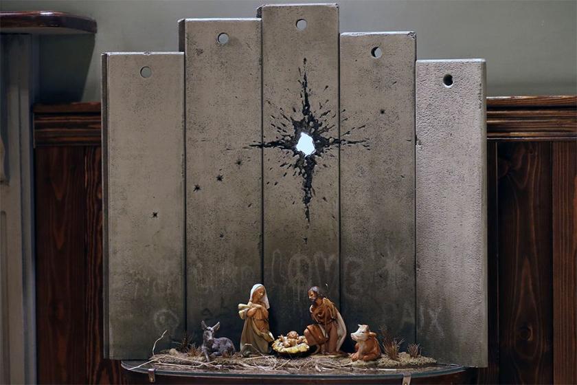 banksy scar of bethlehem nativity scene walled off hotel