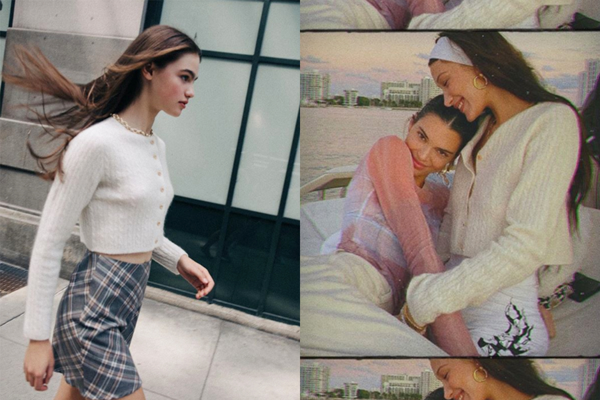 Bella Hadid Cozies Up to Kendall Jenner in a Cropped Cardigan by Musier Paris