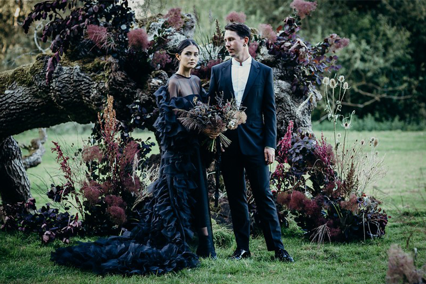 black wedding dress dark style wedding Lydia Pang and Roo Williams