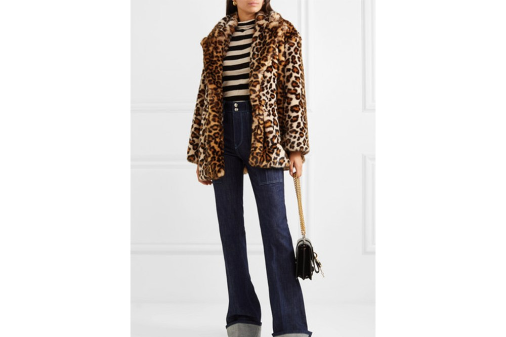 Caban Leopard-print Faux Fur Coat