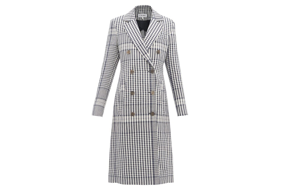 Checked Tailored Linen Coat