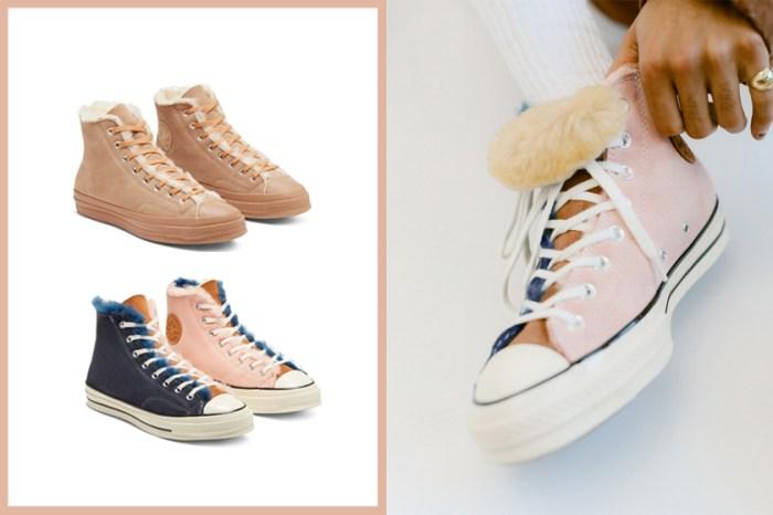 Converse 毛絨帆布鞋即將上架,冬日的暖色系拼接可愛程度爆燈!