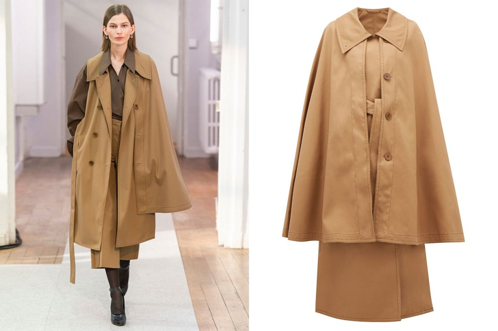 Double-breasted Twill Trench Cape