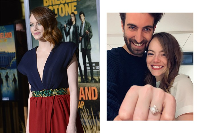 Emma Stone 戴上巨型鑽戒,甜蜜宣布跟製作人男友訂婚了!