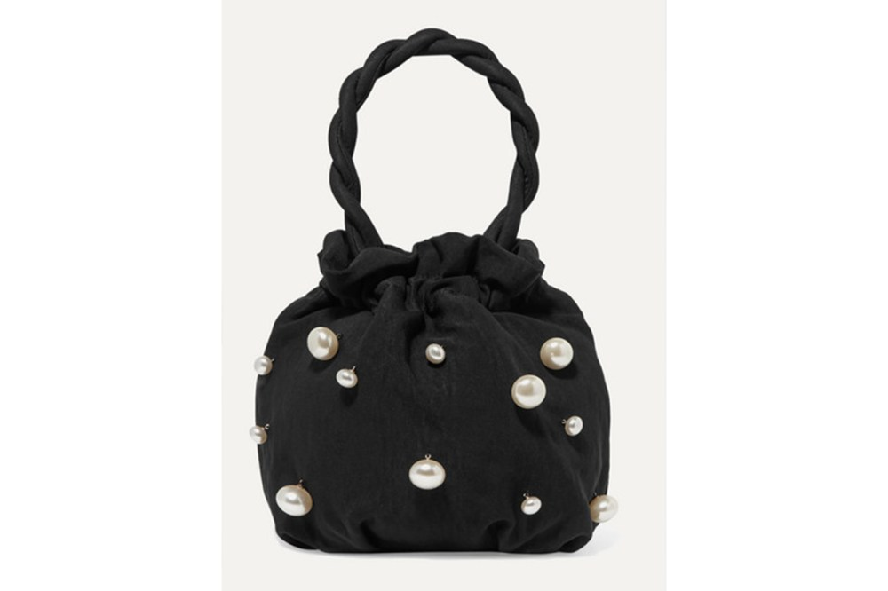 Grace Faux Pearl-embellished Twill Tote