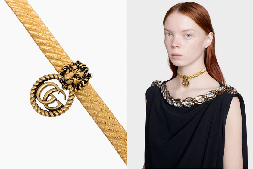 gucci gg logo choker lion head new browns
