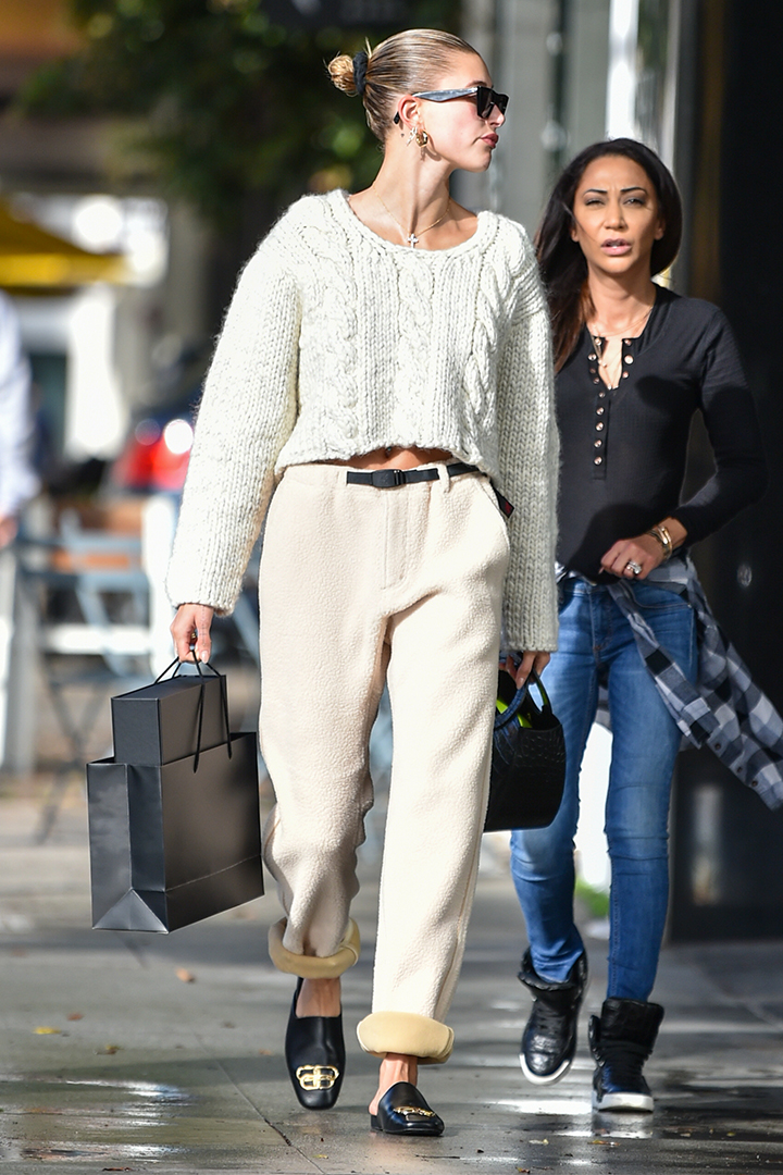 Hailey Bieber Does Winter Whites the Cozy Way