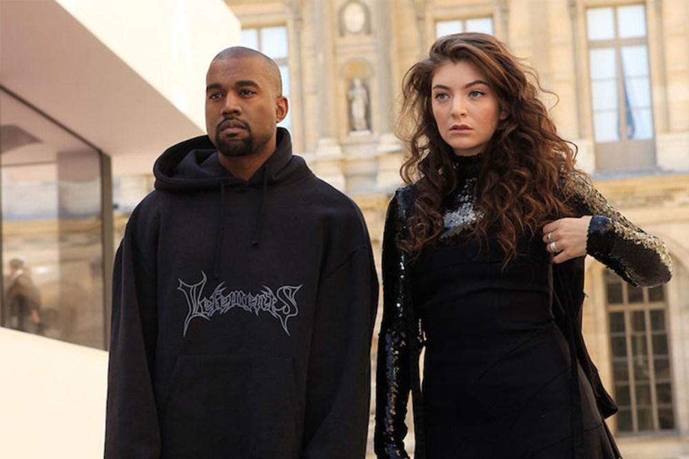 Kanye West wears a Vetements hoodie with singer Lorde