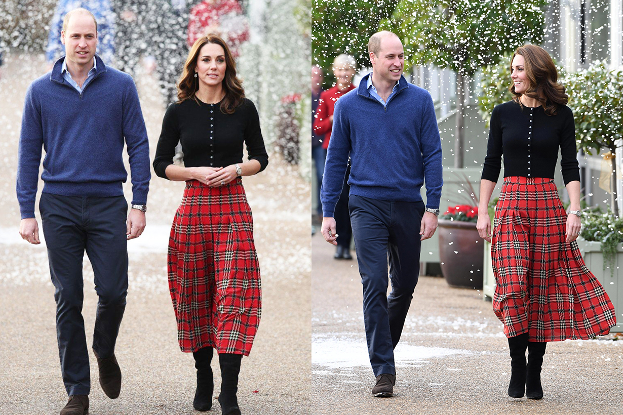 Kate Middleton Christmas 2019 Christmas party style festive style Prince William  Prince George Princess Charlotte Prince Louis British Royal Family Buckingham Palace Emilia Wickstead's 'Anni' dress
