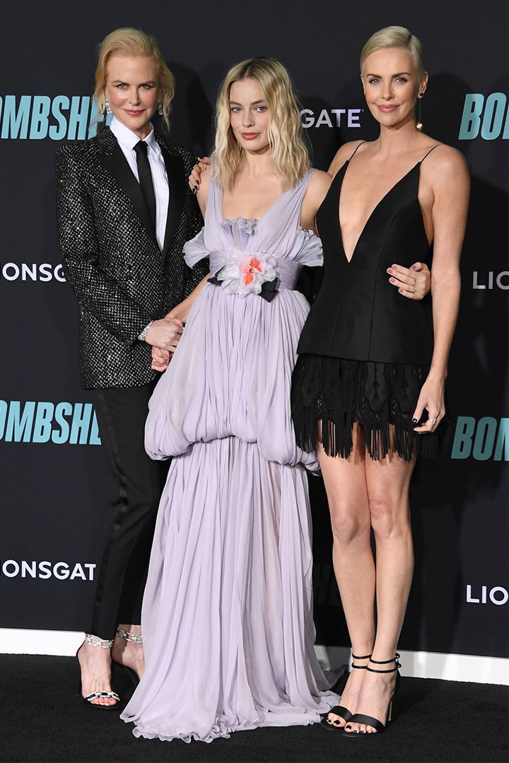 Margot Robbie Wears a Purple Giambattista Valli Gown at the 'Bombshell' Premiere