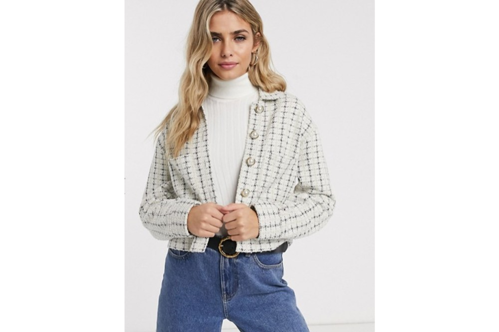 Miss Selfridge Boucle Blazer with Faux Pearl Buttons in Ivory