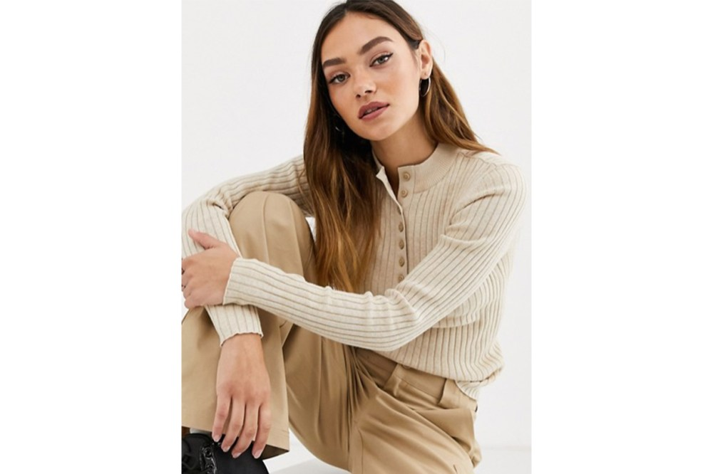 Monki Ribbed Button-down Long Sleeve Jumper in Beige