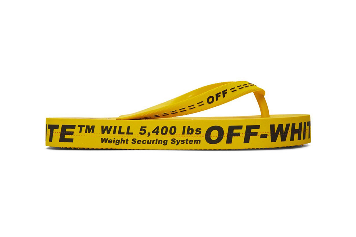 OFF-WHITE™'S SIGNATURE INDUSTRIAL BELT JUST GOT TURNED INTO FLIP FLOPS