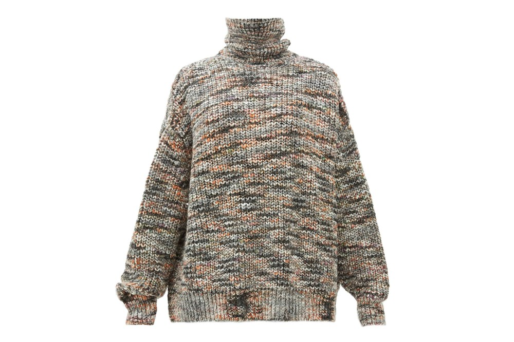 Oversized Roll-neck Marled Sweater