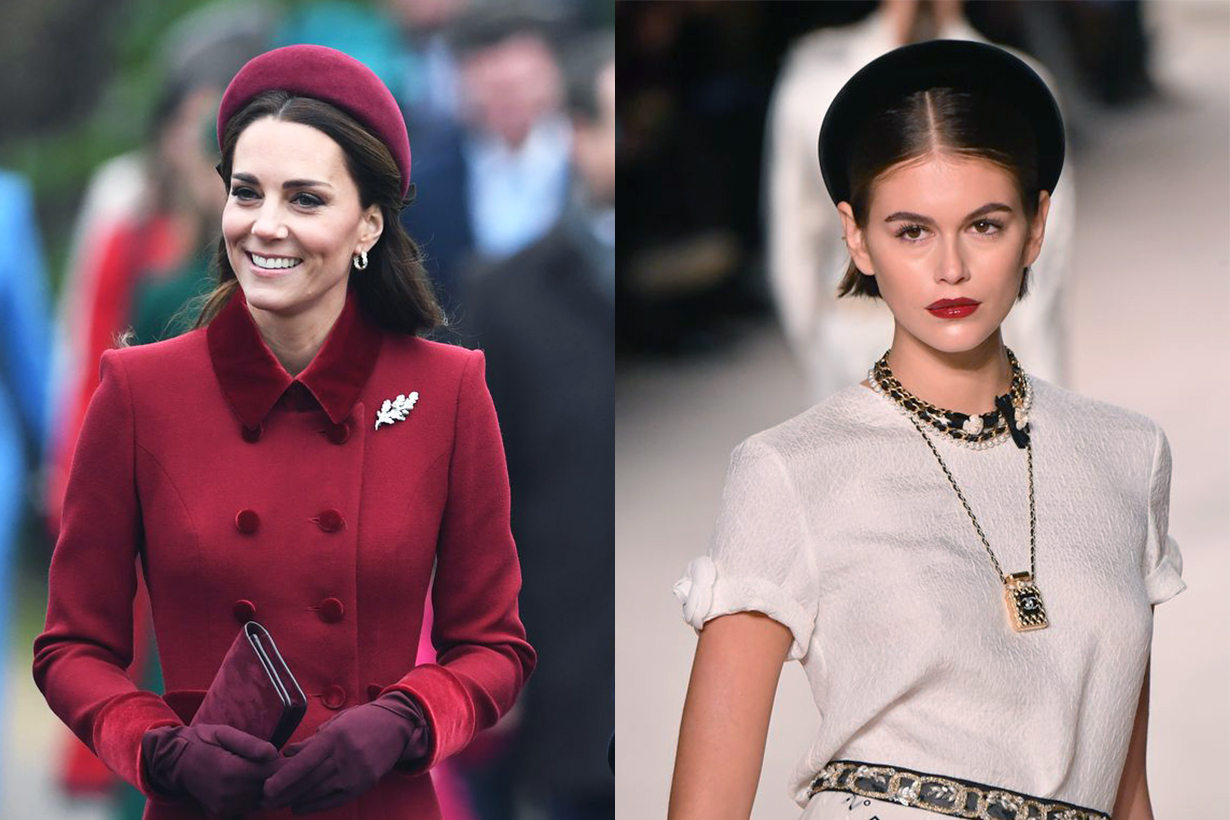 Chanel Métiers d'Art Runway Miuccia Prada 2019 Spring Fall Winter Padded Headband Trend Kate Middleton Kaia Gerber Hair Accessories