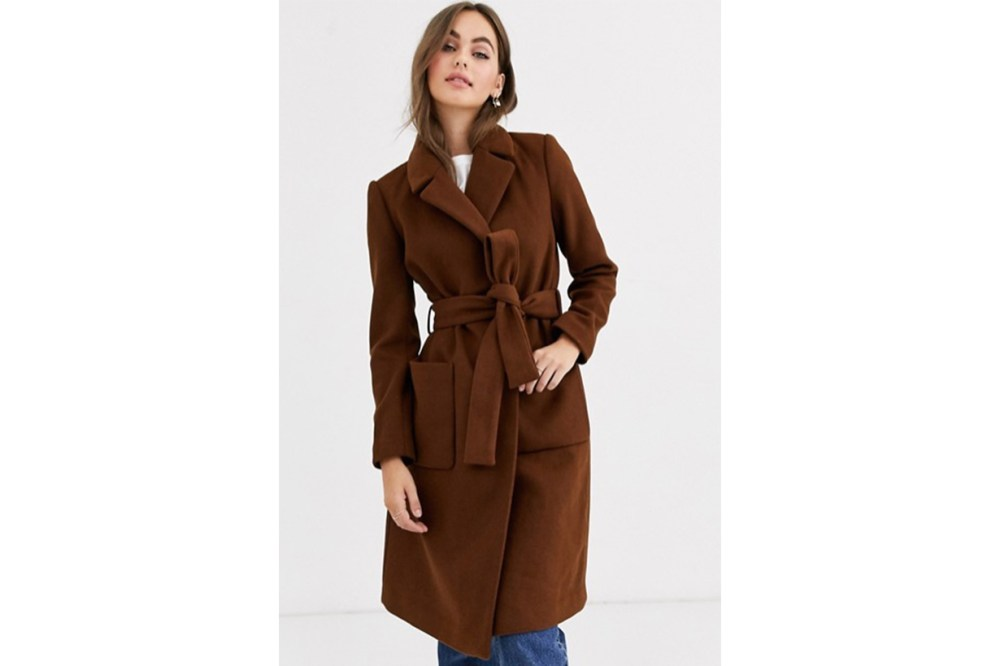 Pimkie Tie Waist Coat in Brown