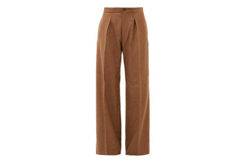 Pleated Wide-leg Felted-twill Trousers