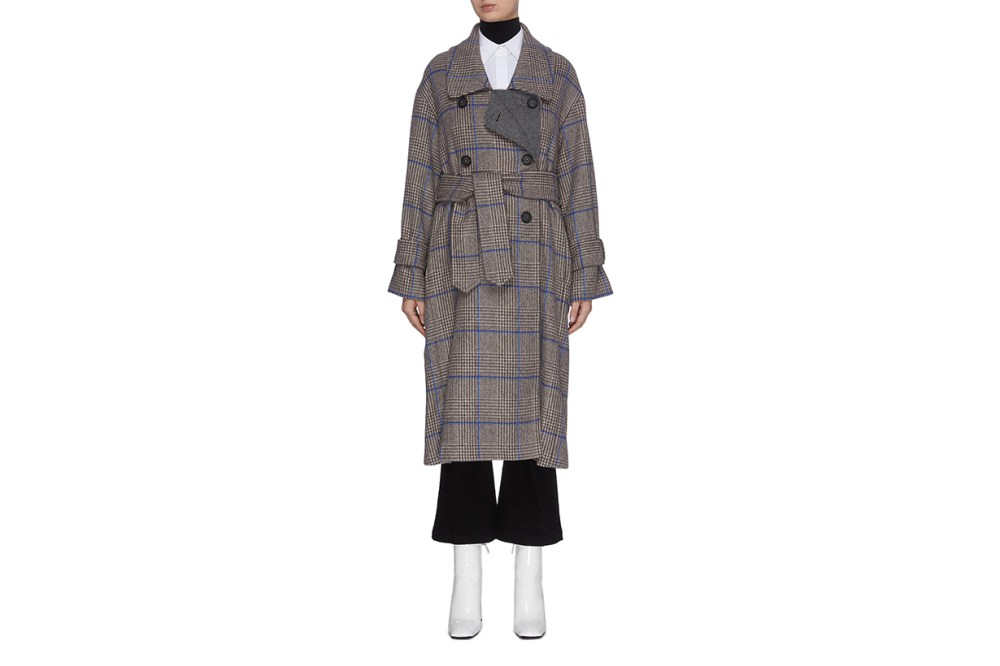 PORTSPURE Houndstooth Check Overcoat