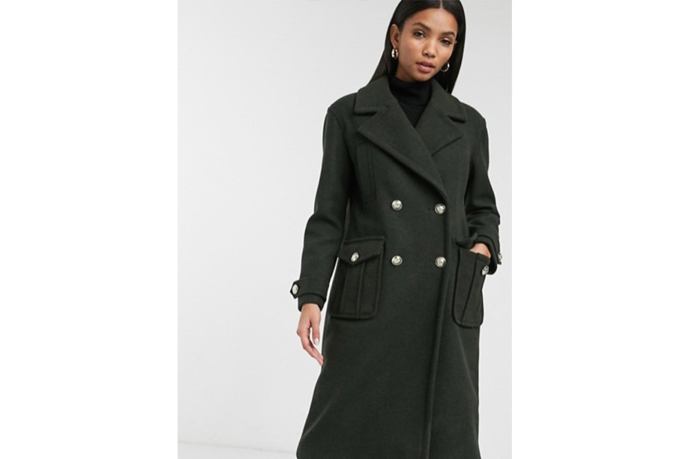 River Island Double Breasted Military Style Coat in Khaki