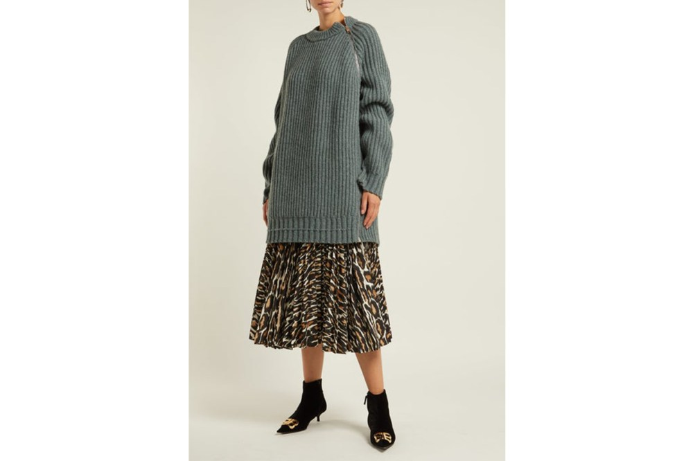 Side-zip Oversized Lambswool Sweater