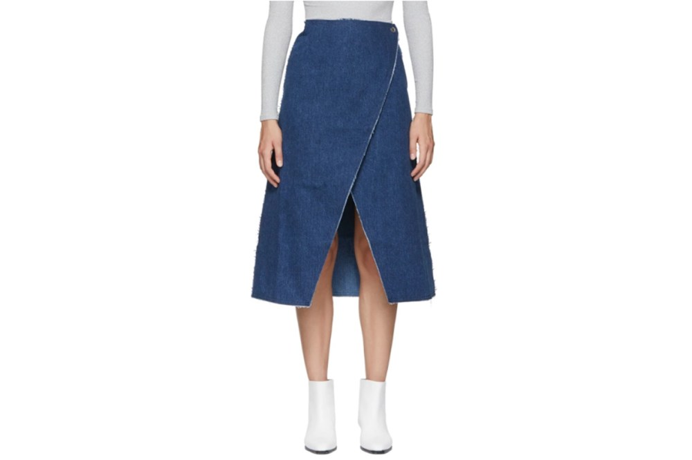 Simon Miller Indigo Denim Wrap Skirt