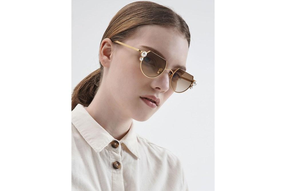 Swarovski Crystal Pearl Embellished Cut-Off Round Sunglasses