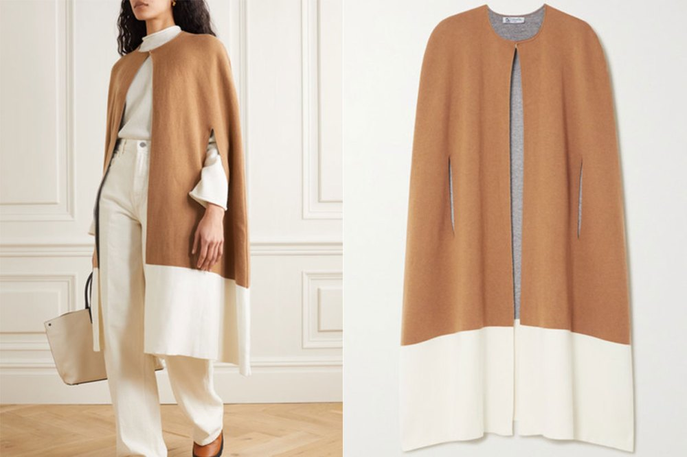 Two-tone Stretch-cashmere Cape