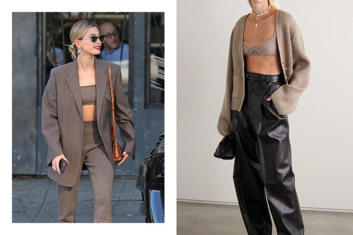 即將成為熱門趨勢:偷學 Hailey Bieber 這件簡約又有型的 Cashmere Bra 搭配吧!