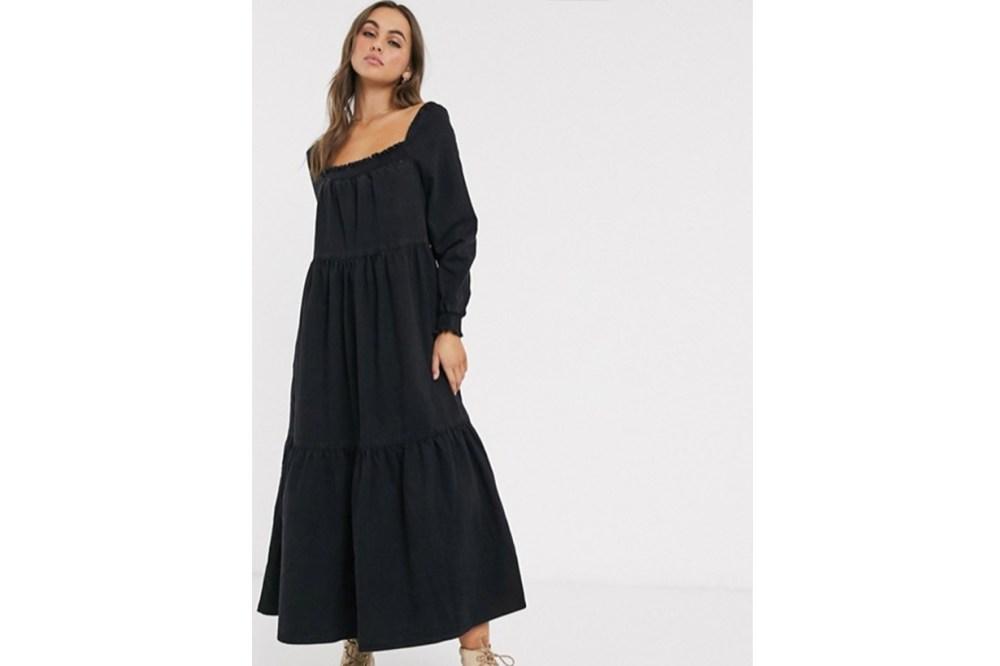 ASOS DESIGN Denim Prairie Midi Smock Dress in Black