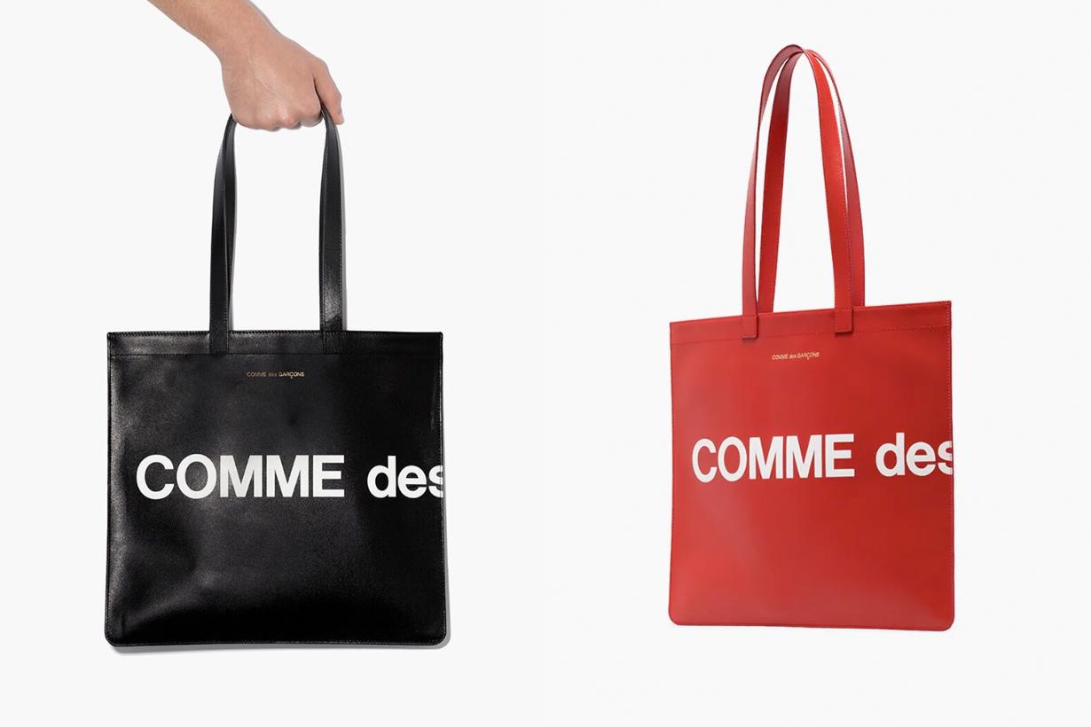 COMME des GARÇONS logo tote bag leather new where buy wallet