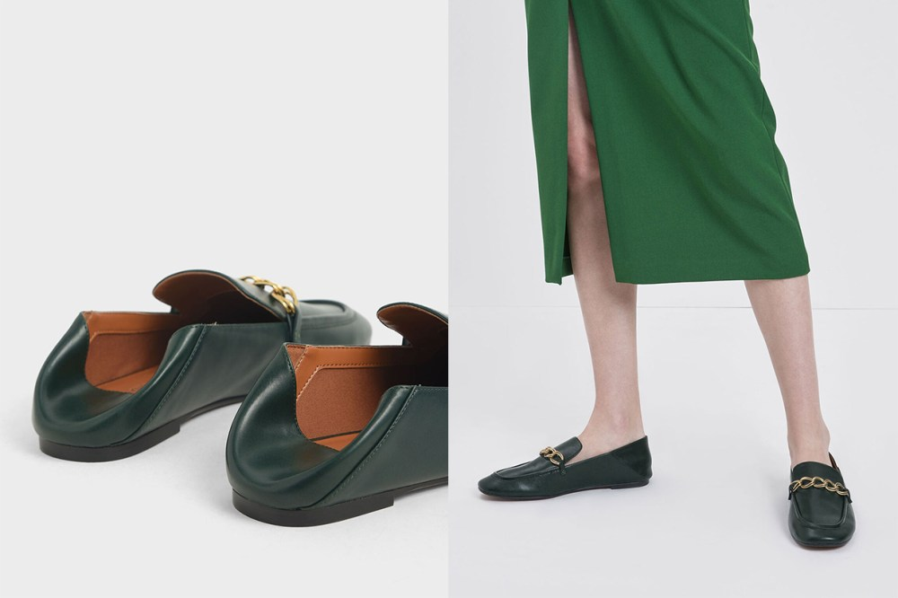 Chain Strap Step-Back Loafers