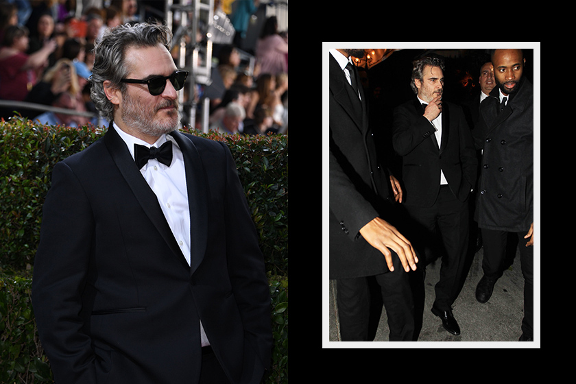 Joaquin phoenix suit red carpet eco friendly Stella mccartney
