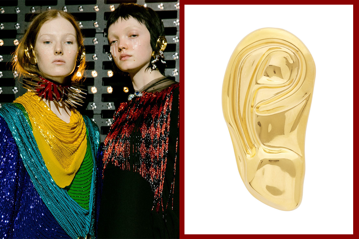 Alessandro Michele Gucci 2019 Fall Winter Gold Ear Shape Single Earring accessories fashion items