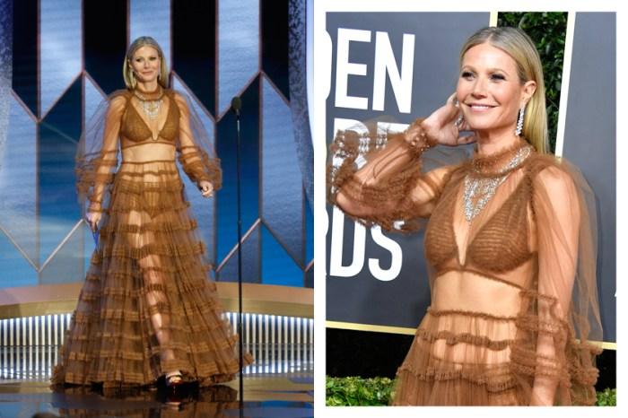 Gwyneth 以透明的薄紗禮服踏上金球獎紅毯,不費餘力地展現了熟女的性感!