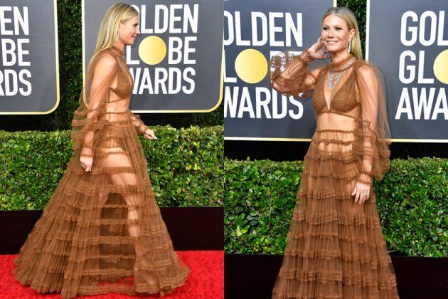 Gwyneth Paltrow golden globe 2020 fendi red carpet gown sheer