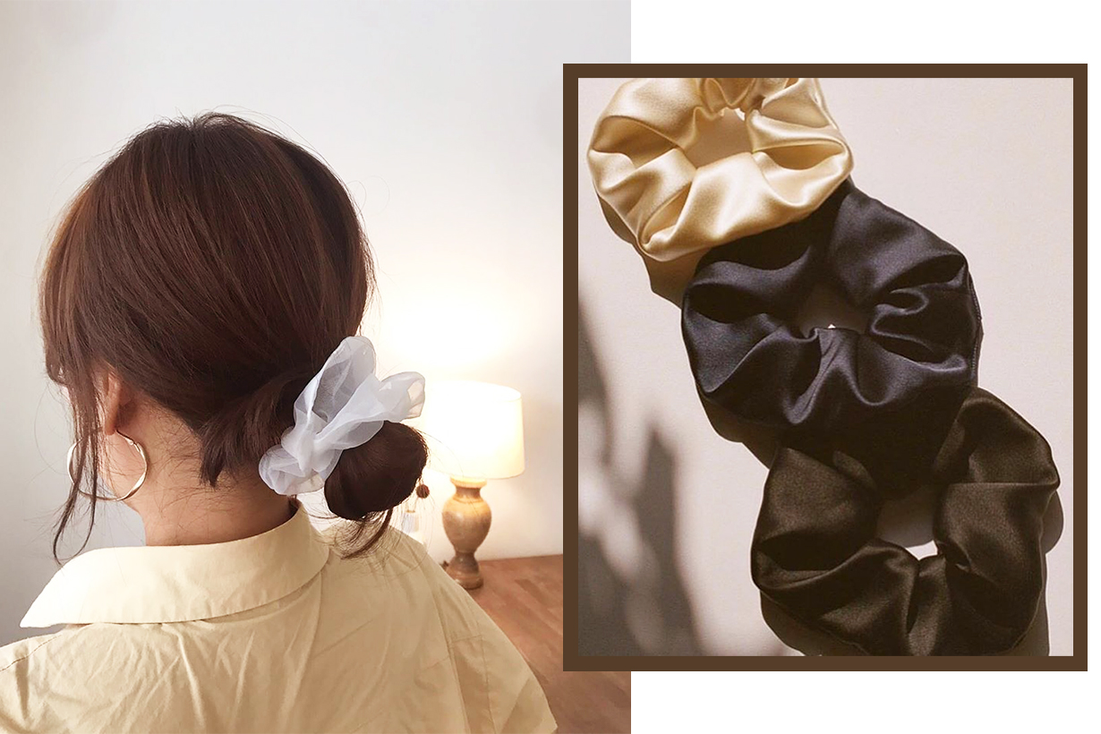 Scrunchie hair band 2020 hairstyles trends hair styling hair accessories hairstyles tutorials