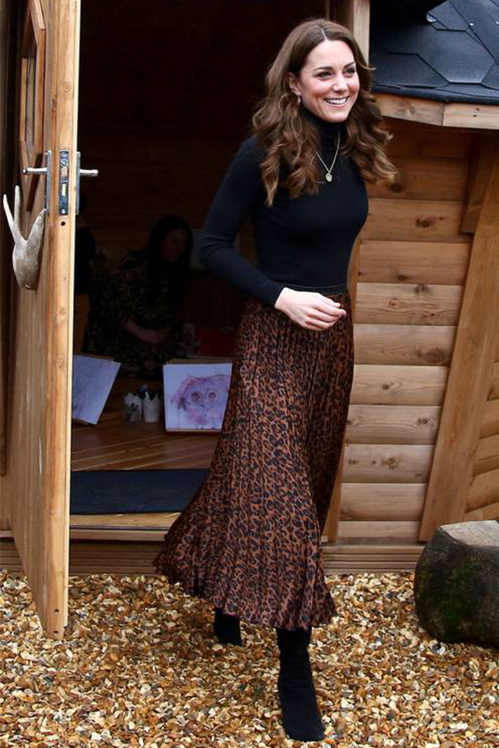 Kate Middleton Wore A Leopard Print Skirt from Zara