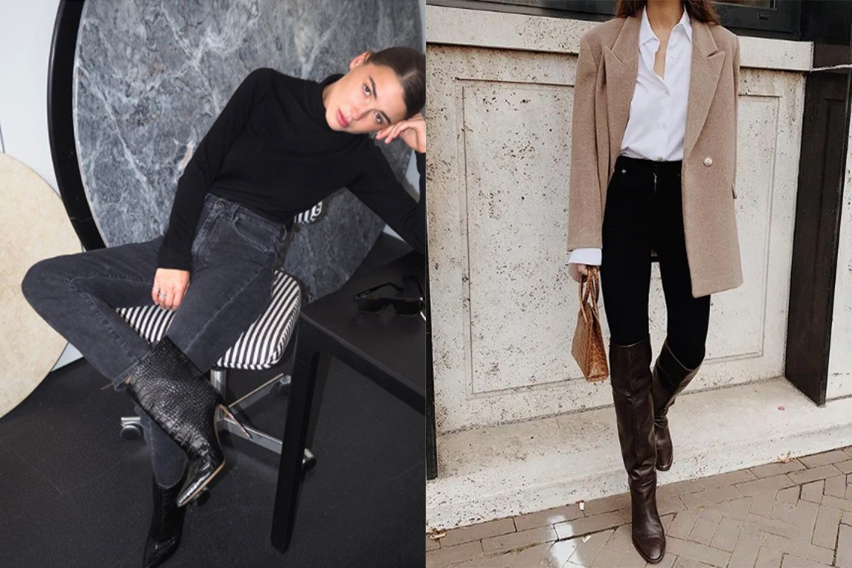 Every Fashion Girl is Wearing Knee-High Boots, Jeans and Jumpers Outfits