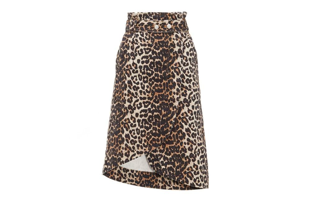 Leopard-print Cotton-denim Wrap Skirt