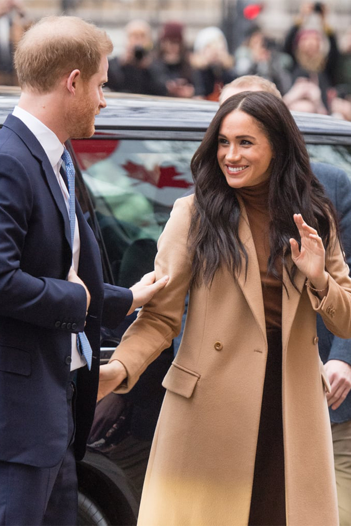 Meghan Markle Wraps Up in a Chic Camel Coat
