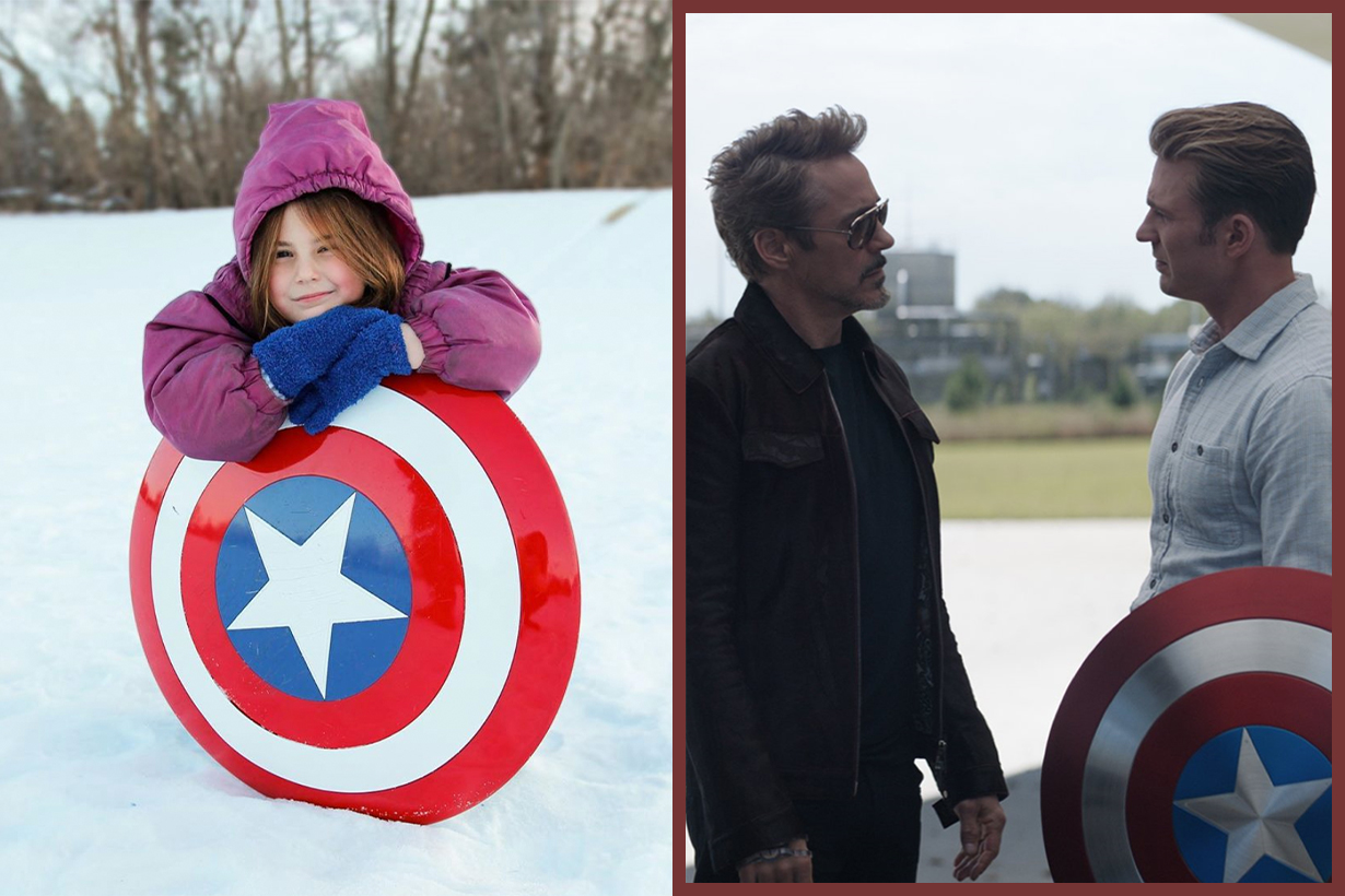 Endgame's Morgan Stark Takes Captain America's Shield Sledding in New Video