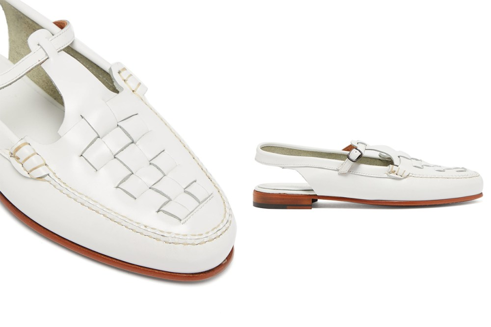 Roqueta Woven-leather Slingback Loafers