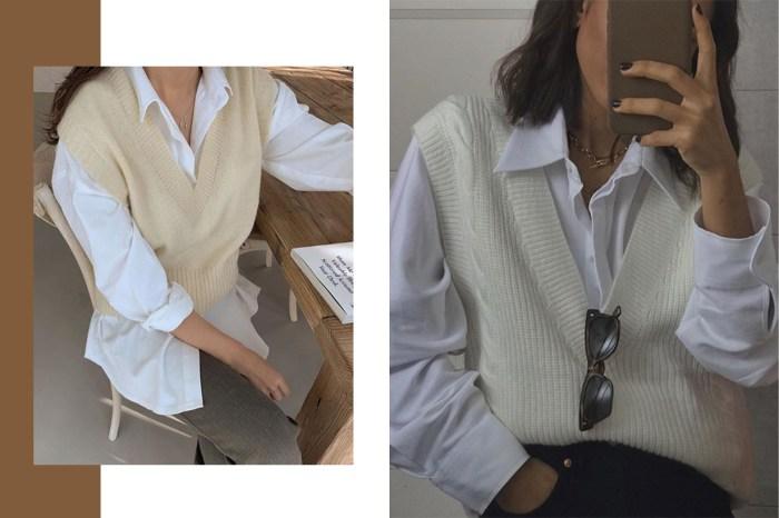 別對針織背心有偏見!法國、韓國女生都迷上恤衫配搭的時尚造型