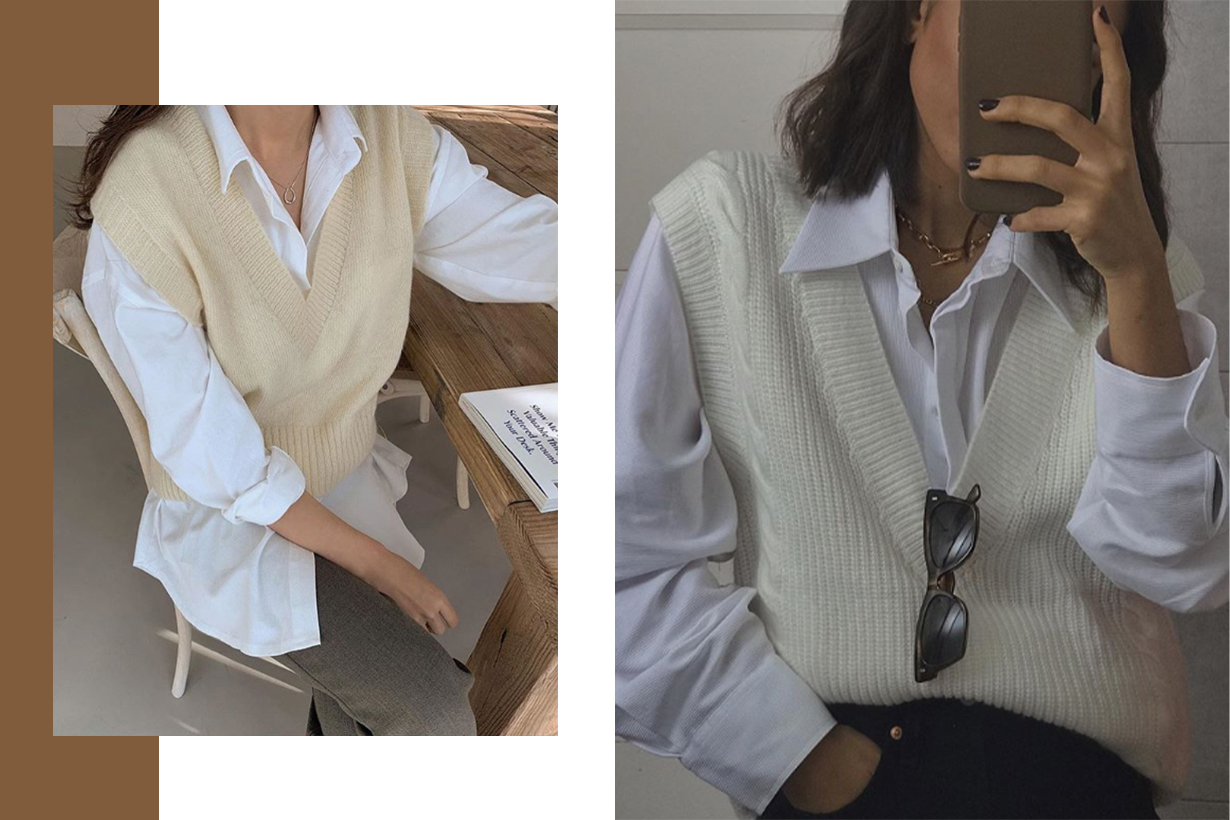 Sweater Vests and White Shirts Becomes A Trends on Instagram