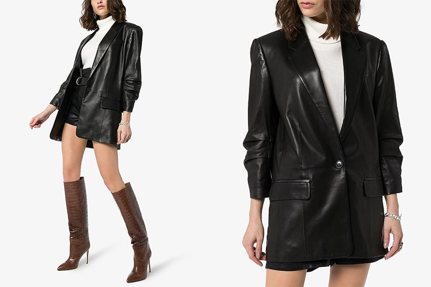 bella-hadid off duty Style Leather Jacket